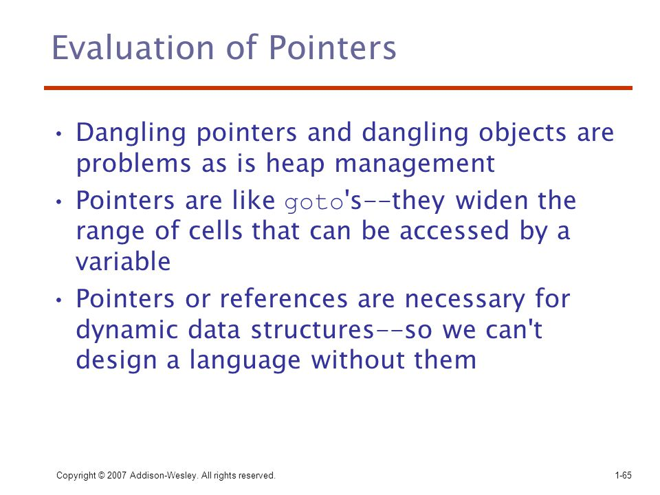 Evaluation of Pointers