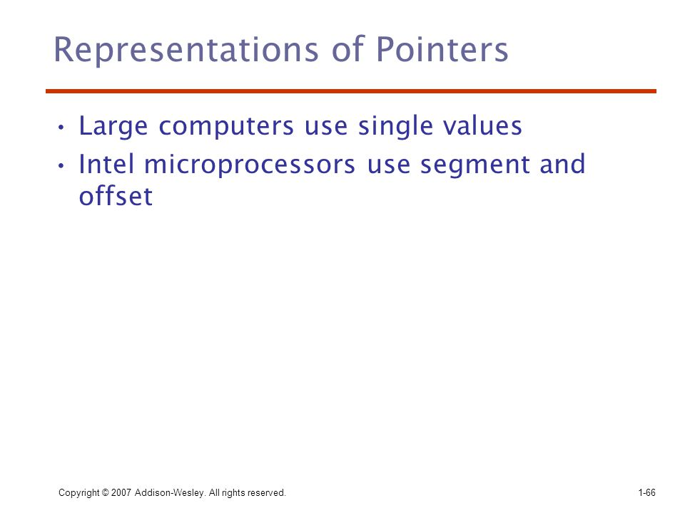 Representations of Pointers
