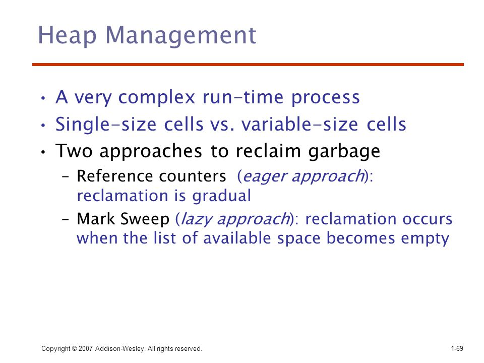 Heap Management A very complex run-time process