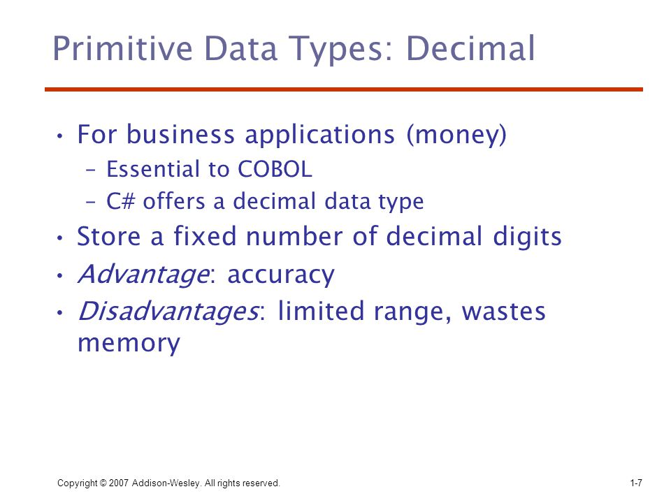Primitive Data Types: Decimal