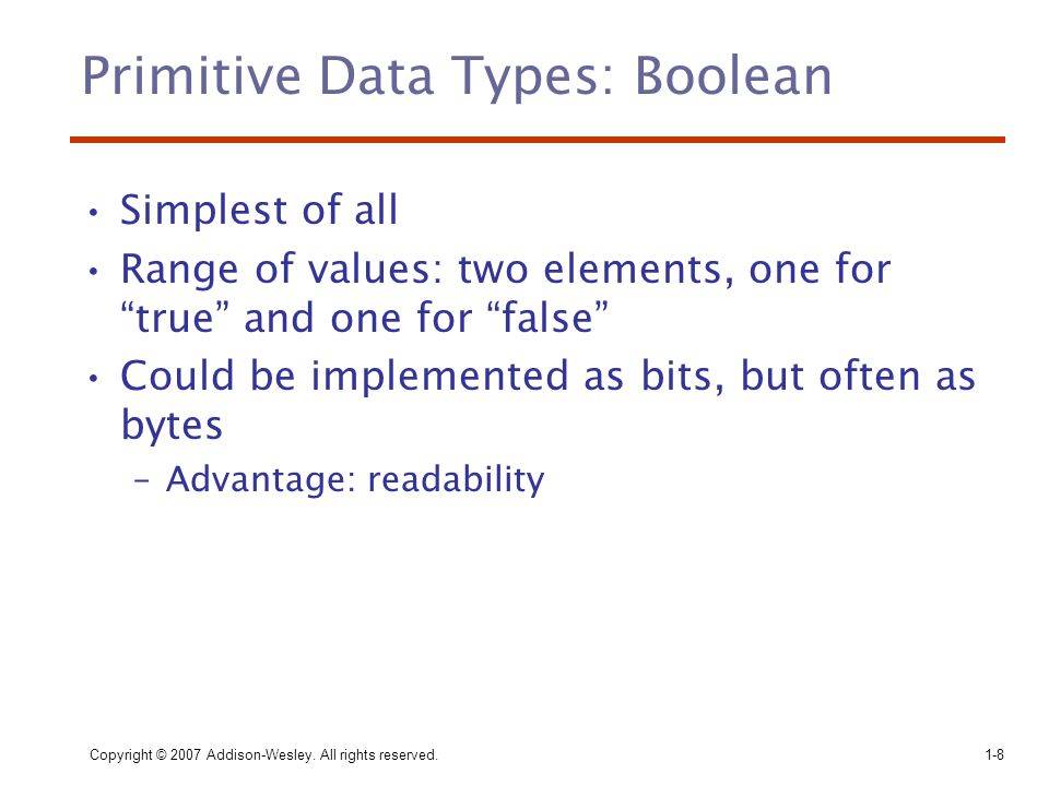 Primitive Data Types: Boolean