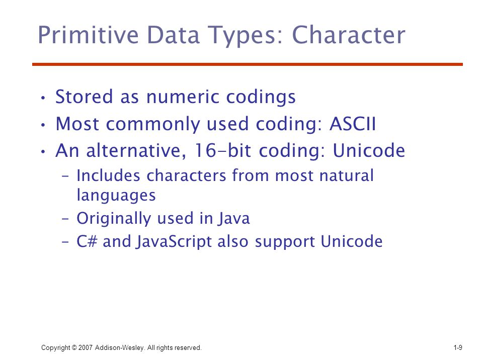 Primitive Data Types: Character