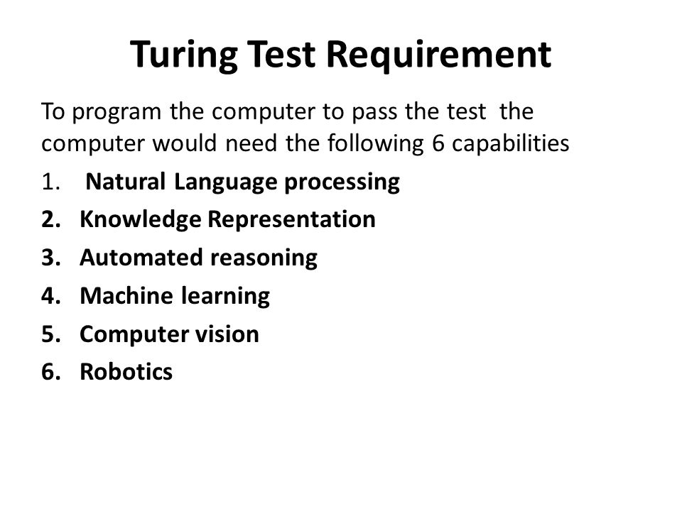 Turing Test Requirement