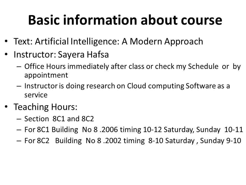 Basic information about course