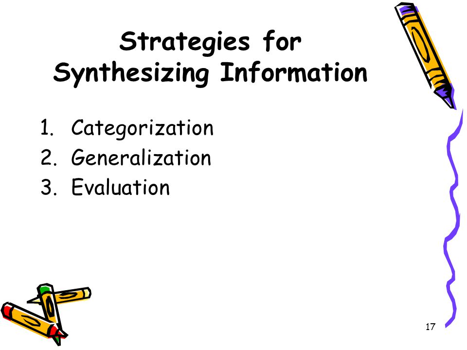 Strategies for Synthesizing Information