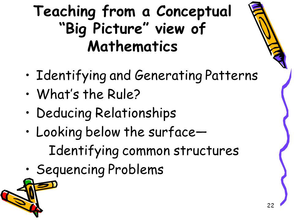 Teaching from a Conceptual Big Picture view of Mathematics