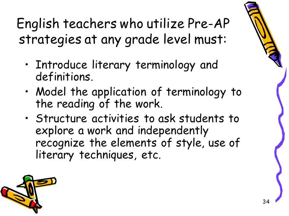 English teachers who utilize Pre-AP strategies at any grade level must: