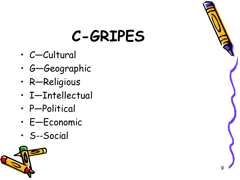 C-GRIPES C—Cultural G—Geographic R—Religious I—Intellectual