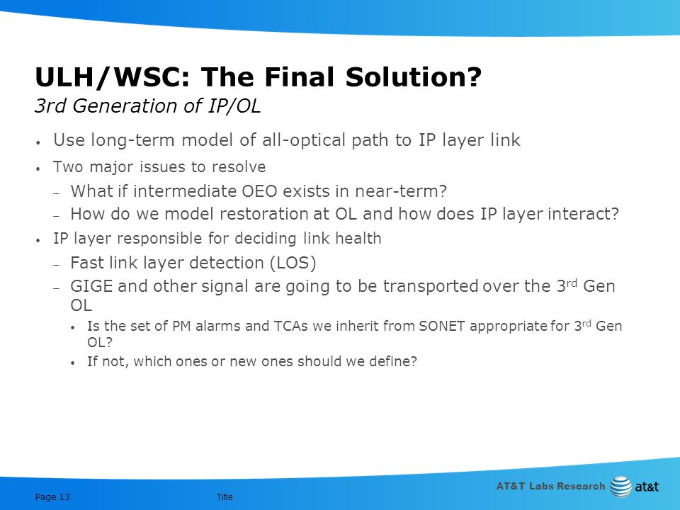 ULH/WSC: The Final Solution 3rd Generation of IP/OL