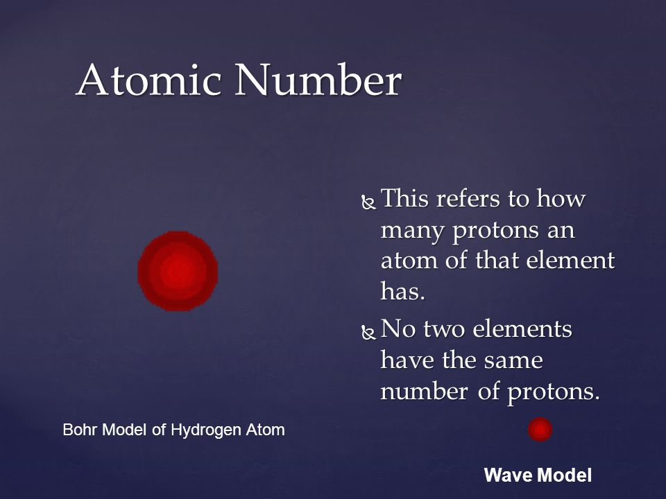 Atomic Number This refers to how many protons an atom of that element has. No two elements have the same number of protons.
