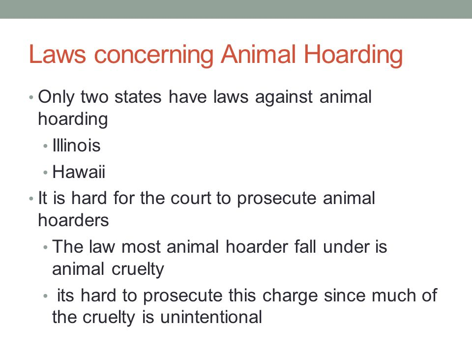 Laws concerning Animal Hoarding