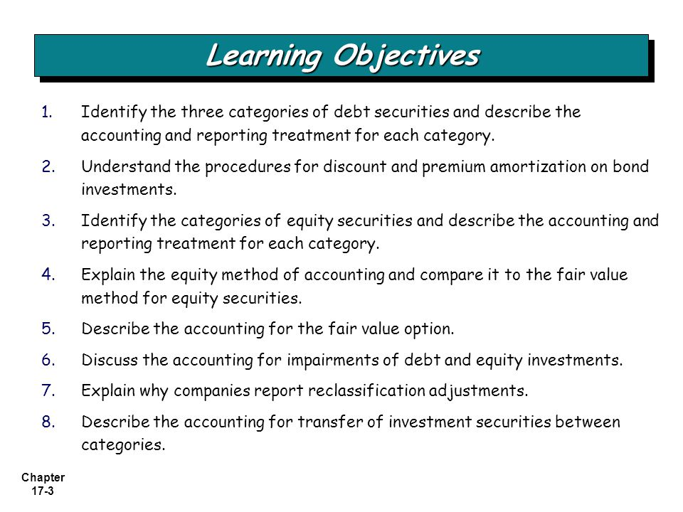 Learning Objectives Identify the three categories of debt securities and describe the accounting and reporting treatment for each category.