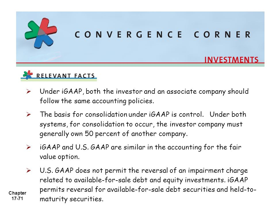 Under iGAAP, both the investor and an associate company should follow the same accounting policies.