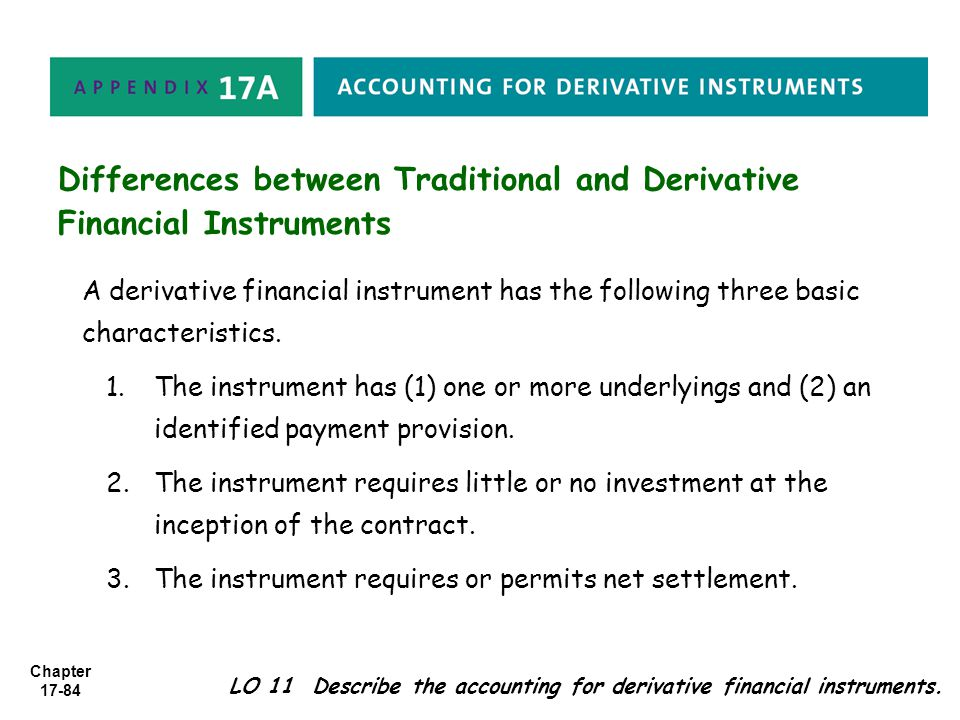 Differences between Traditional and Derivative Financial Instruments