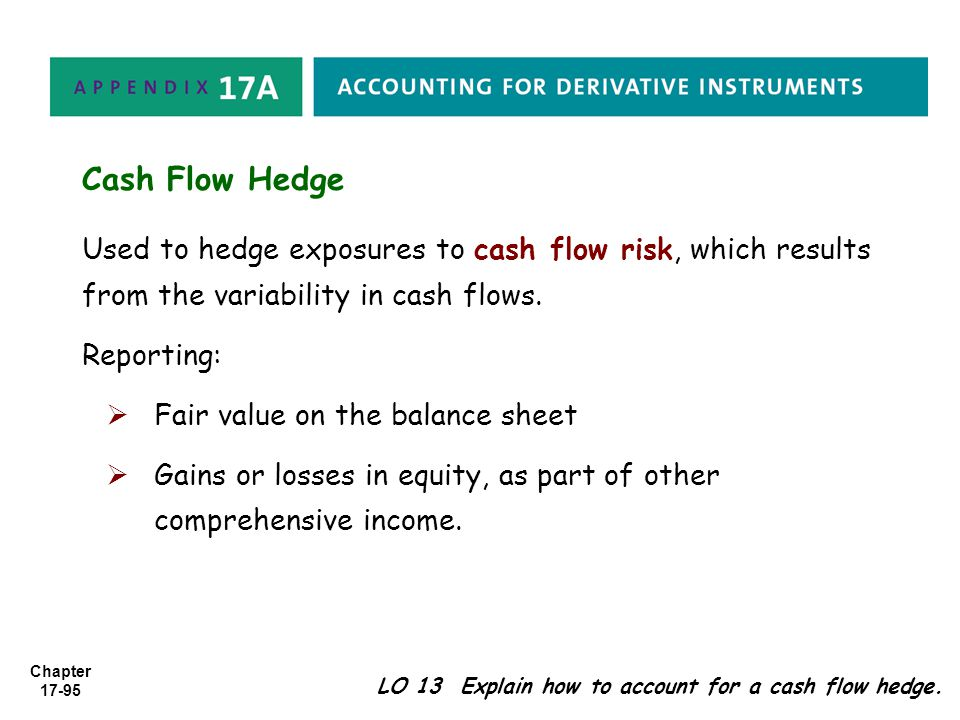 Cash Flow Hedge Used to hedge exposures to cash flow risk, which results from the variability in cash flows.