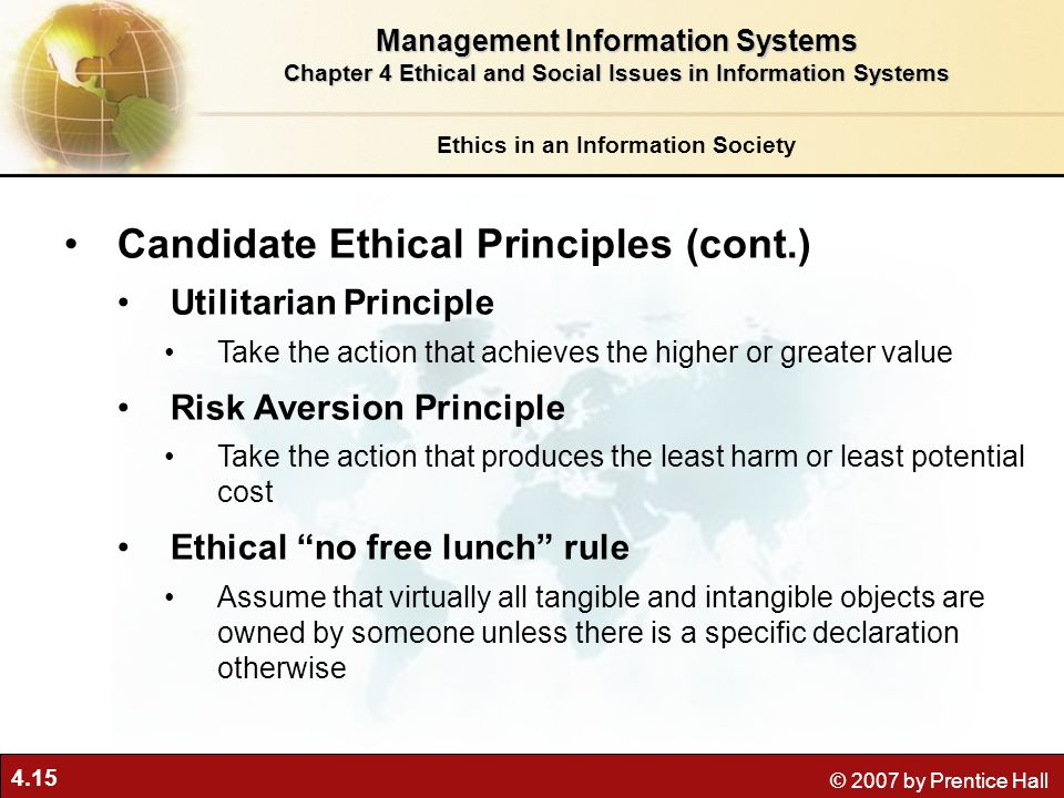 Candidate Ethical Principles (cont.)