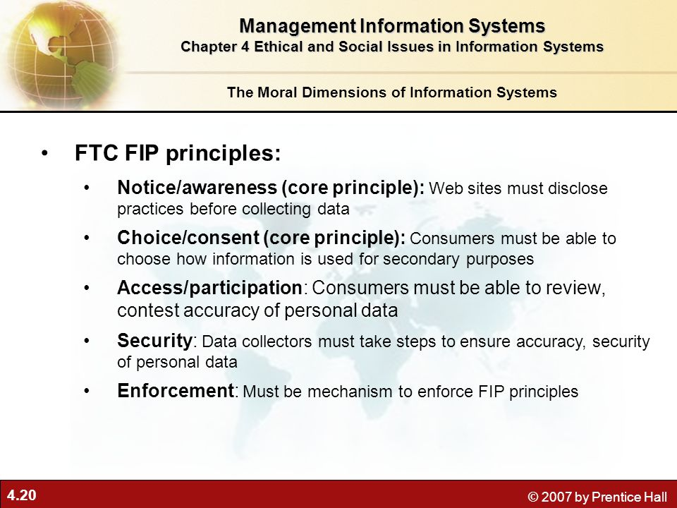 FTC FIP principles: Management Information Systems