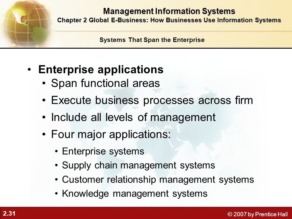 Enterprise applications Span functional areas
