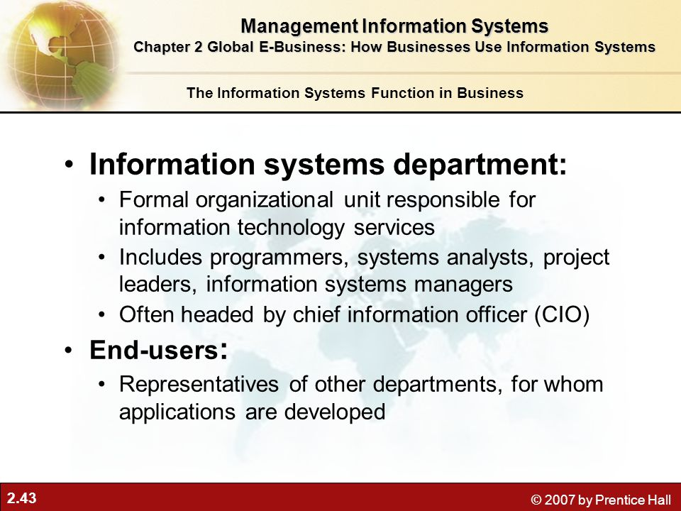 Information systems department:
