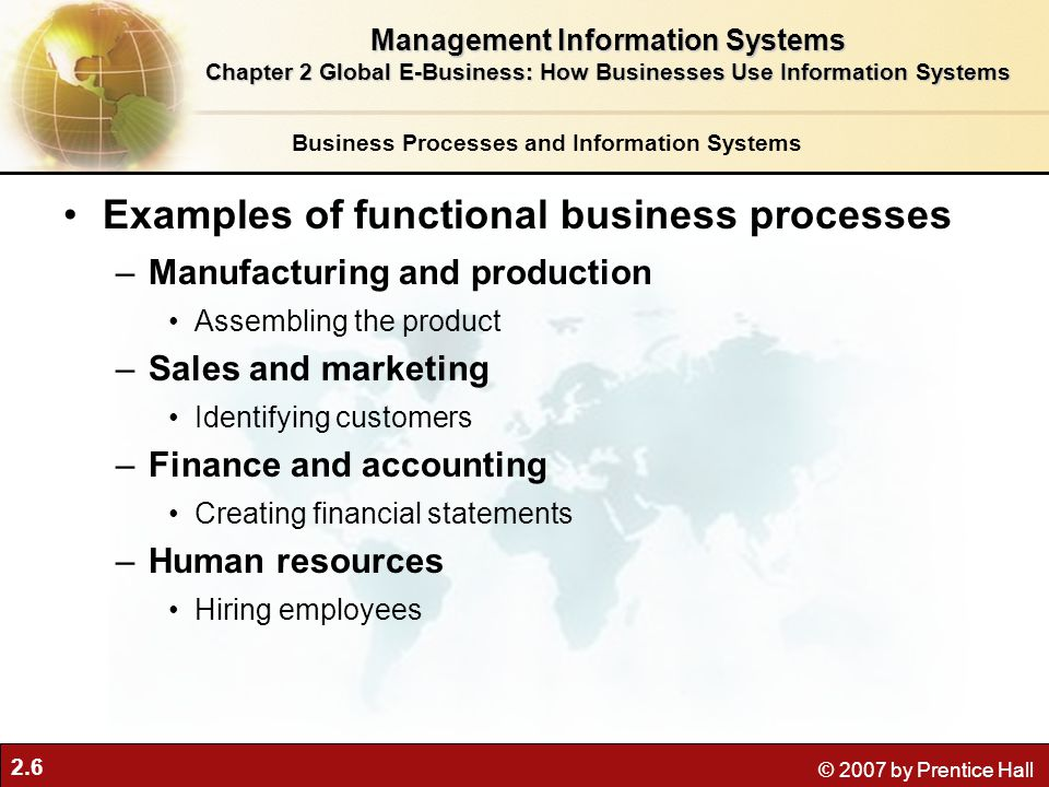 Examples of functional business processes
