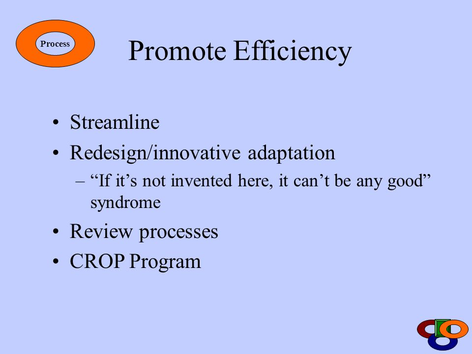 Promote Efficiency Streamline Redesign/innovative adaptation