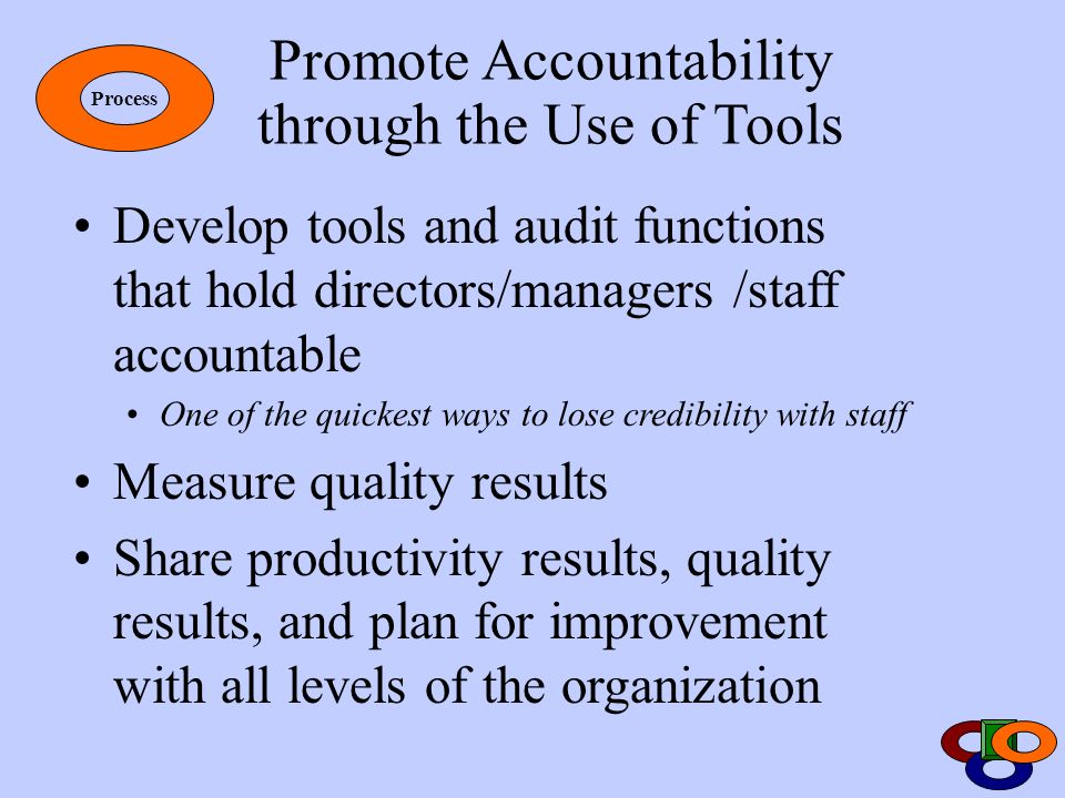 Promote Accountability through the Use of Tools