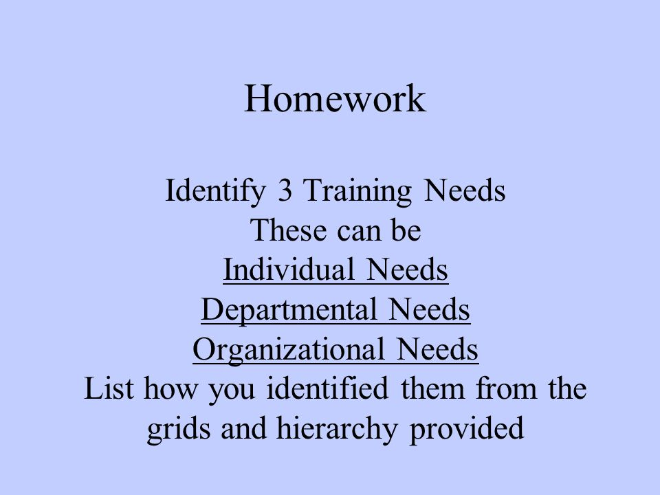 Homework Identify 3 Training Needs These can be Individual Needs Departmental Needs Organizational Needs List how you identified them from the grids and hierarchy provided
