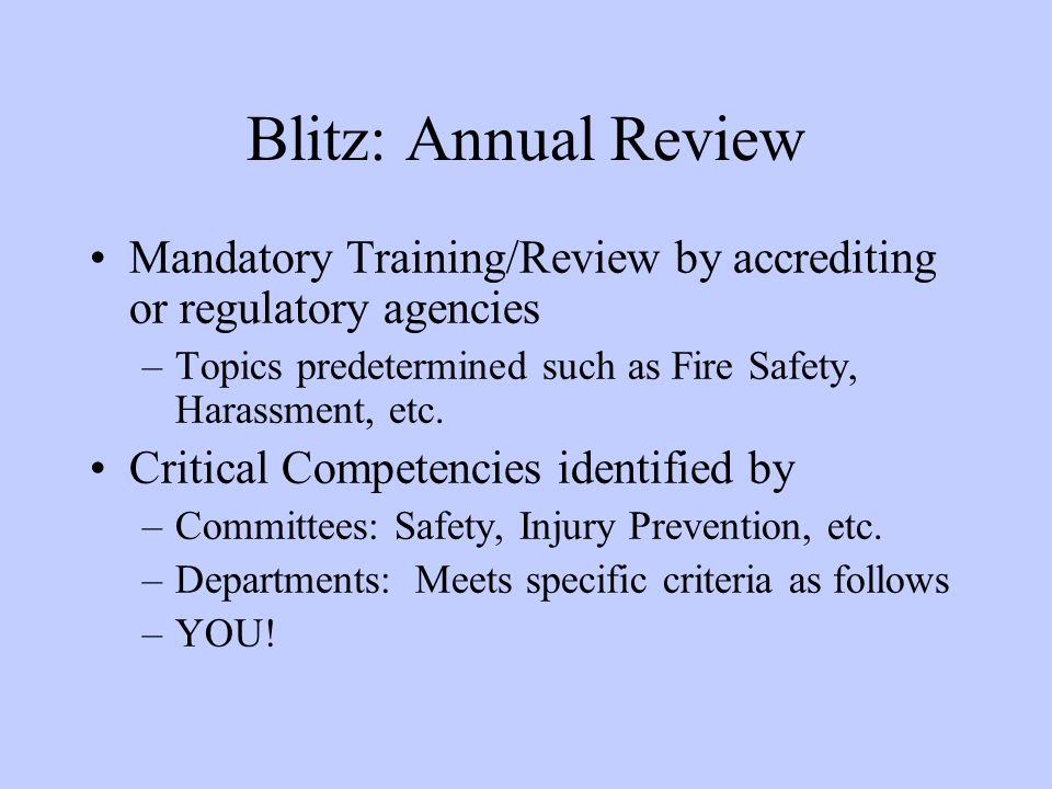 Blitz: Annual Review Mandatory Training/Review by accrediting or regulatory agencies. Topics predetermined such as Fire Safety, Harassment, etc.