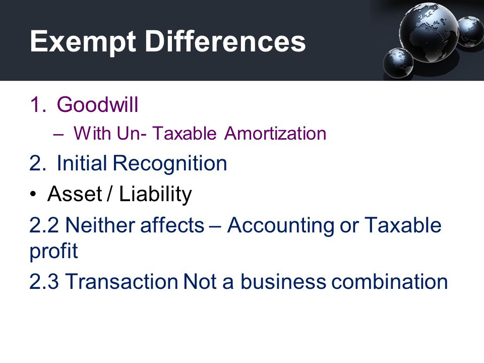Exempt Differences Goodwill Initial Recognition Asset / Liability