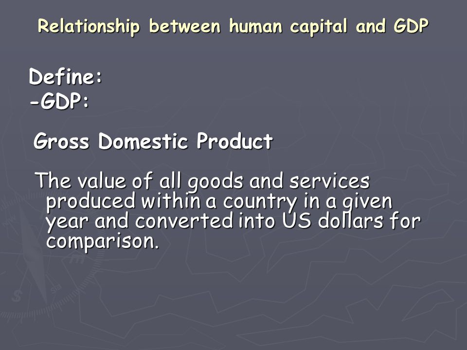 Relationship between human capital and GDP
