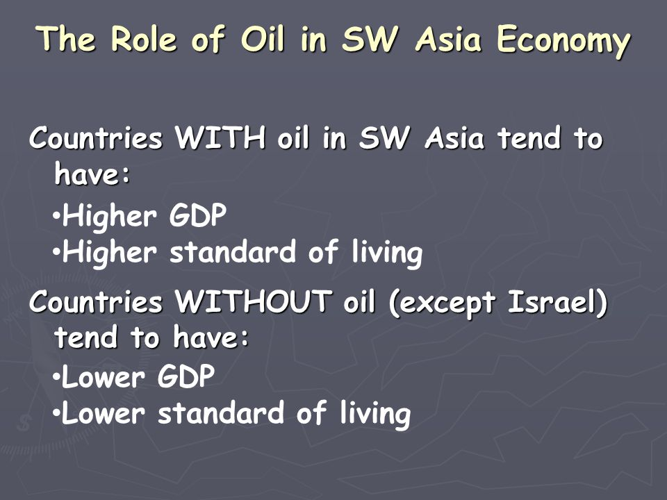 The Role of Oil in SW Asia Economy