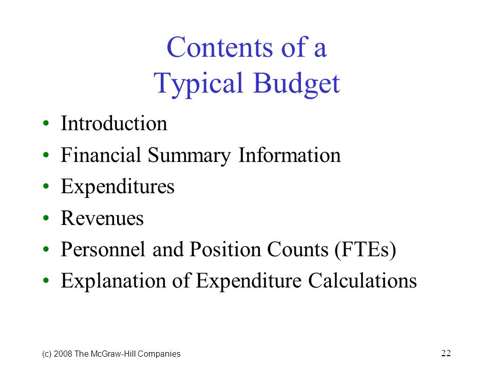 Contents of a Typical Budget