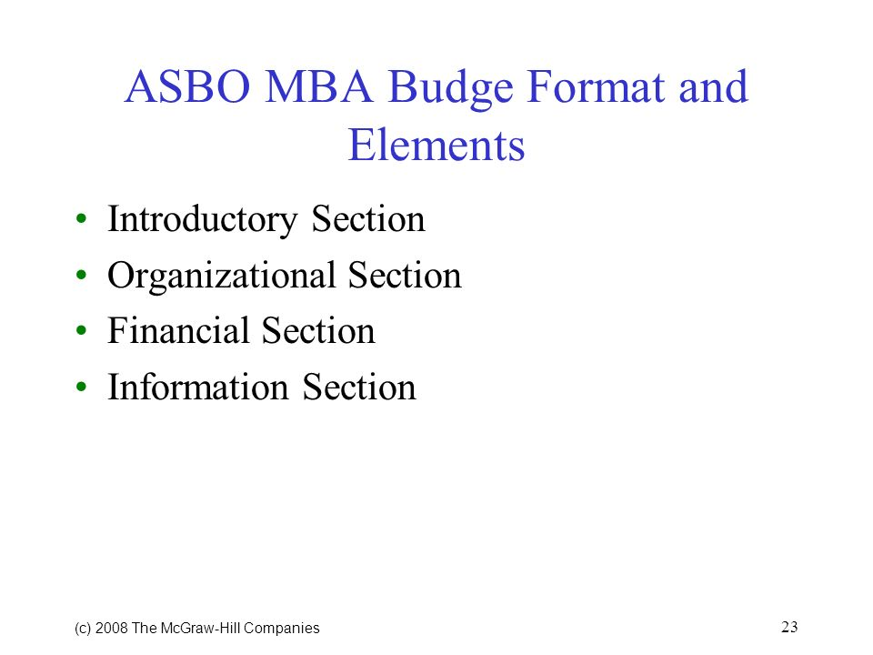 ASBO MBA Budge Format and Elements