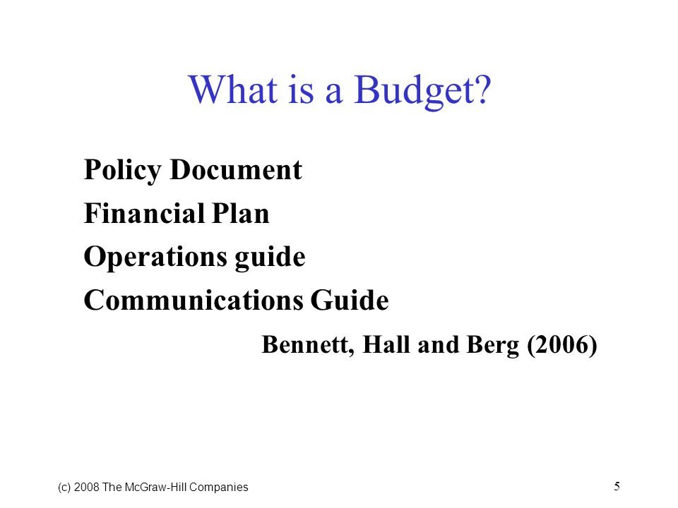 What is a Budget Policy Document Financial Plan Operations guide