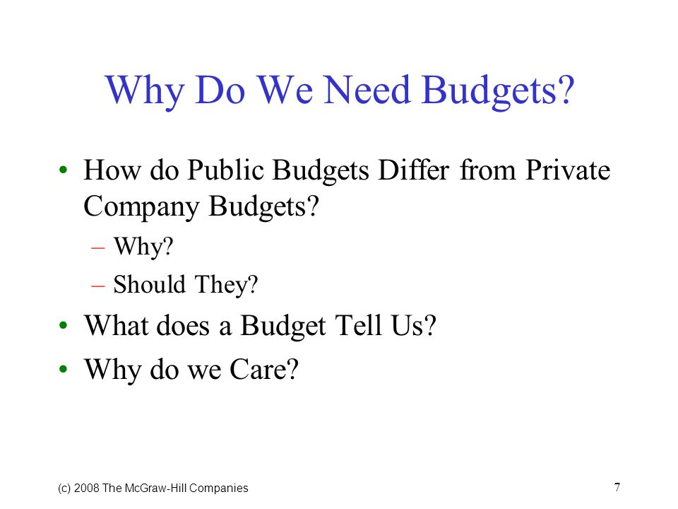Why Do We Need Budgets How do Public Budgets Differ from Private Company Budgets Why Should They