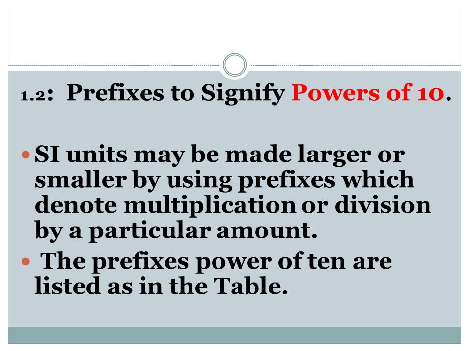 The prefixes power of ten are listed as in the Table.