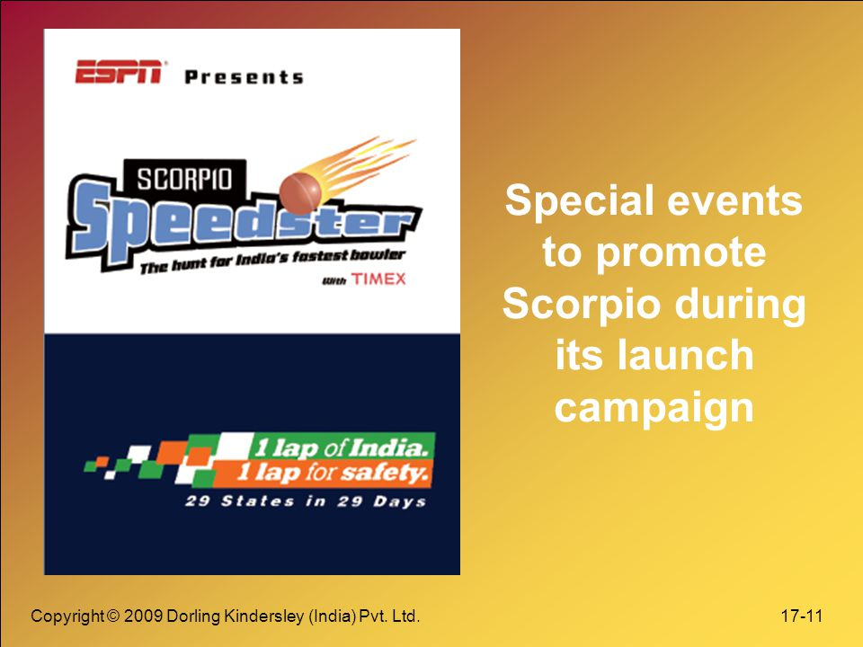 Special events to promote Scorpio during its launch campaign