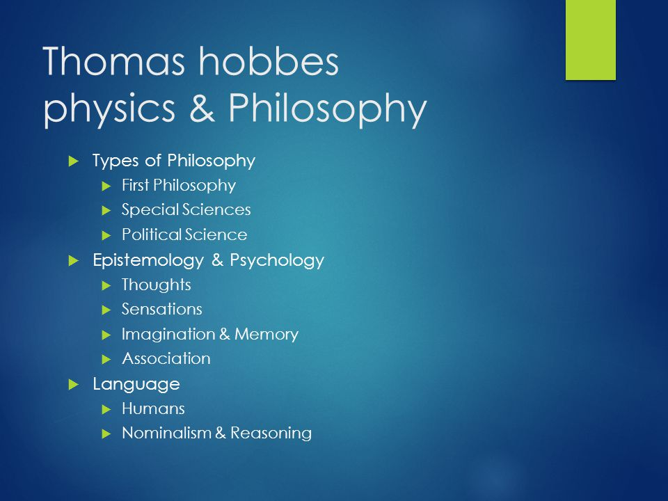 Thomas hobbes physics & Philosophy