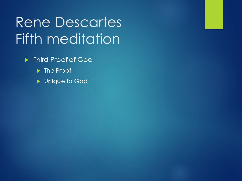 Rene Descartes Fifth meditation