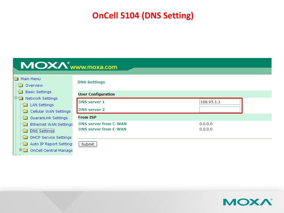 OnCell 5104 (DNS Setting)