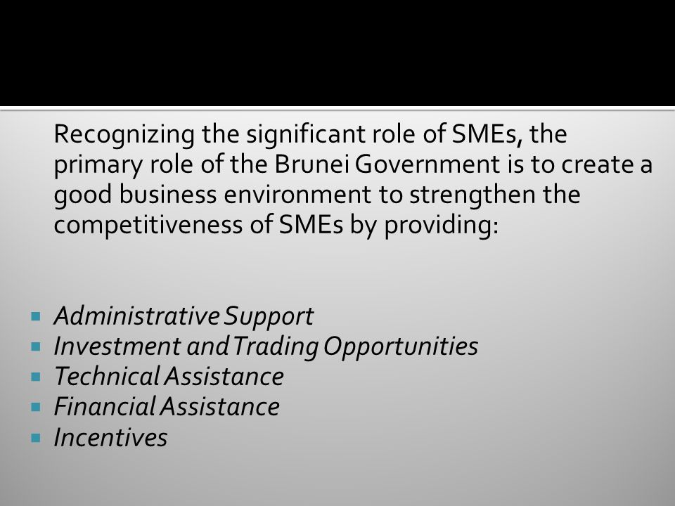 Recognizing the significant role of SMEs, the primary role of the Brunei Government is to create a good business environment to strengthen the competitiveness of SMEs by providing:
