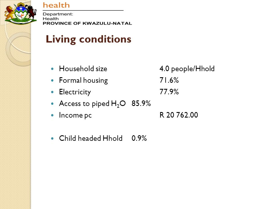 Living conditions Household size 4.0 people/Hhold Formal housing 71.6%