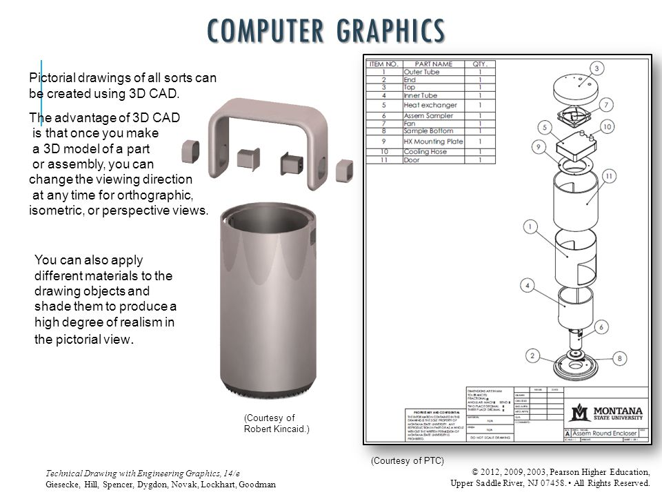 COMPUTER GRAPHICS Pictorial drawings of all sorts can be created using 3D CAD. The advantage of 3D CAD.