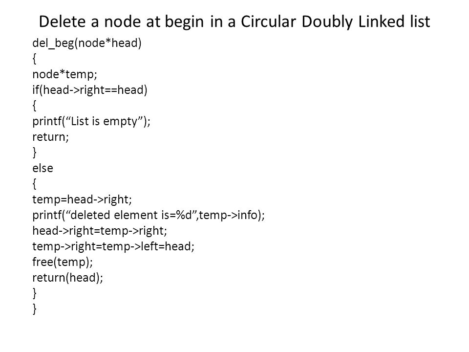 Delete a node at begin in a Circular Doubly Linked list