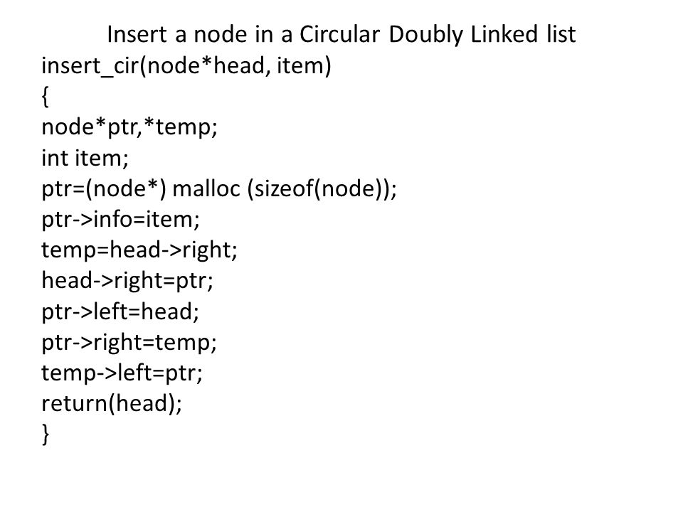 Insert a node in a Circular Doubly Linked list