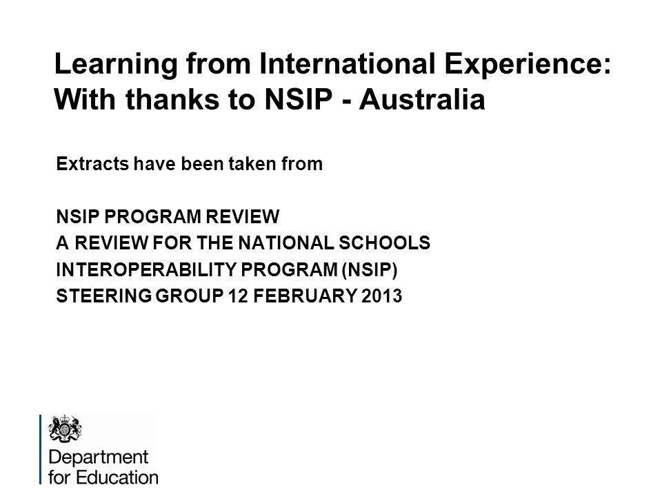 Learning from International Experience: With thanks to NSIP - Australia