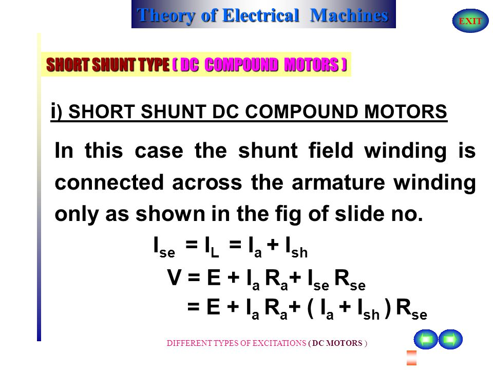 Course title theory of electrical machines ppt download short shunt type dc compound motors sciox Gallery
