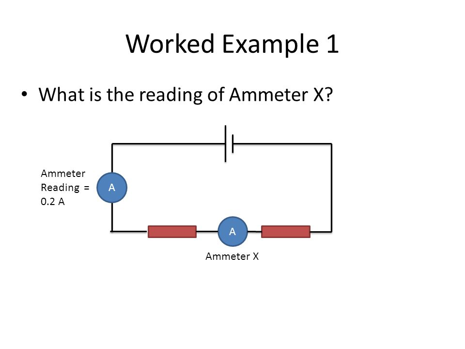 Worked Example 1 What is the reading of Ammeter X