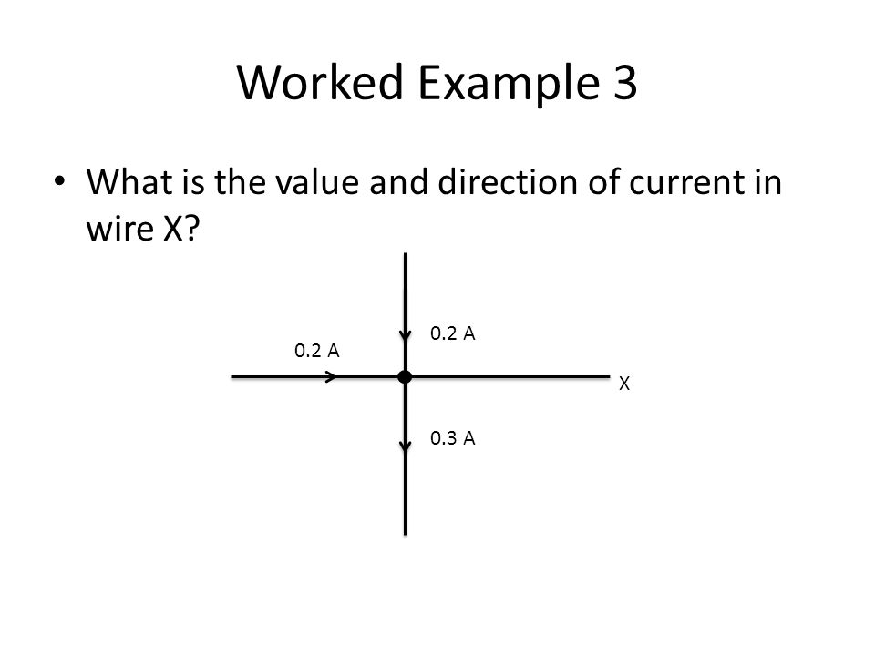 Worked Example 3 What is the value and direction of current in wire X