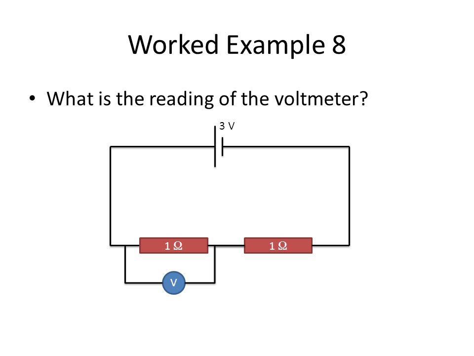 Worked Example 8 What is the reading of the voltmeter 3 V 1 Ω 1 Ω V